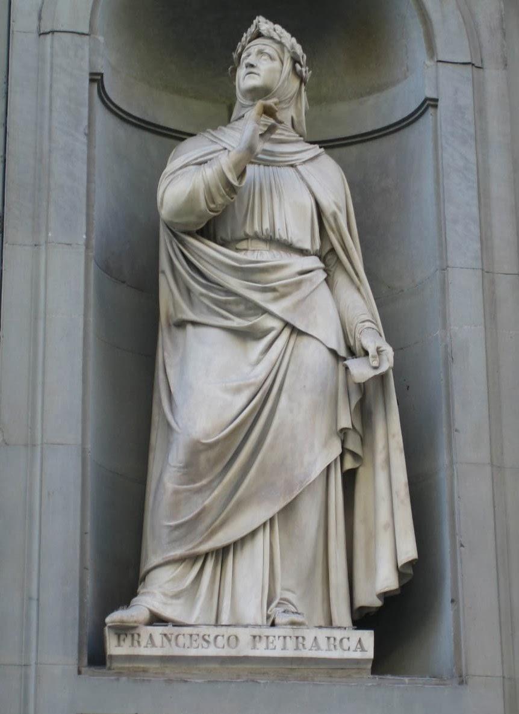 Francesco Petrarca - Statua ottocentesca - Firenze, sulla facciata del palazzo degli Uffizi..jpg